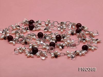 6.5x8.5mm white rice shape freshwater pearl and crystal and red stone necklace FNO368 Image 3