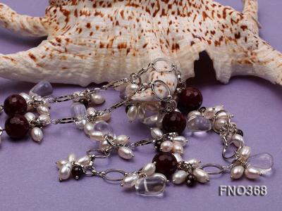 6.5x8.5mm white rice shape freshwater pearl and crystal and red stone necklace FNO368 Image 4