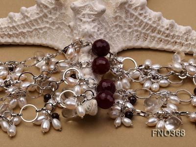 6.5x8.5mm white rice shape freshwater pearl and crystal and red stone necklace FNO368 Image 5