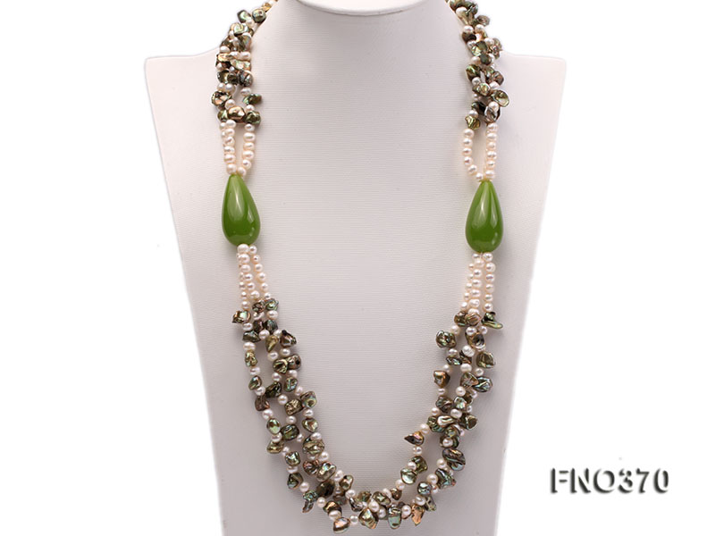 6mm white freshwater pearl and regenerated pearl and green jade stone necklace big Image 1