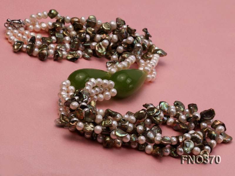 6mm white freshwater pearl and regenerated pearl and green jade stone necklace big Image 4