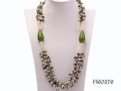 6mm white freshwater pearl and regenerated pearl and green jade stone necklace FNO370 Image 1