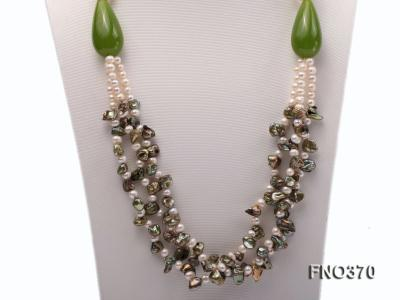 6mm white freshwater pearl and regenerated pearl and green jade stone necklace FNO370 Image 2