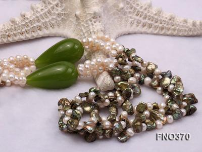 6mm white freshwater pearl and regenerated pearl and green jade stone necklace FNO370 Image 5