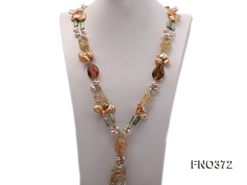 7x9mm light yellow flat freshwater pearl and tiger iron jasper and biwa pearl necklace big Image 2