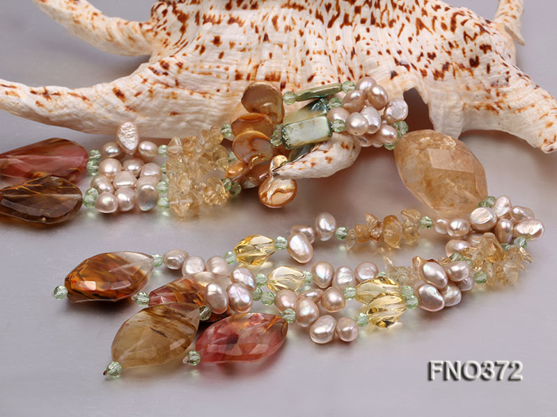 7x9mm light yellow flat freshwater pearl and tiger iron jasper and biwa pearl necklace big Image 6