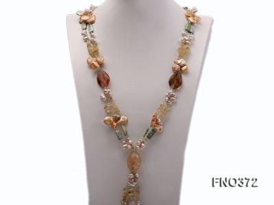 7x9mm light yellow flat freshwater pearl and tiger iron jasper and biwa pearl necklace FNO372 Image 2
