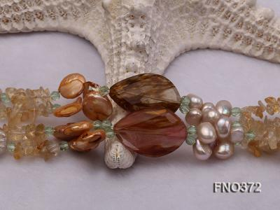 7x9mm light yellow flat freshwater pearl and tiger iron jasper and biwa pearl necklace FNO372 Image 5