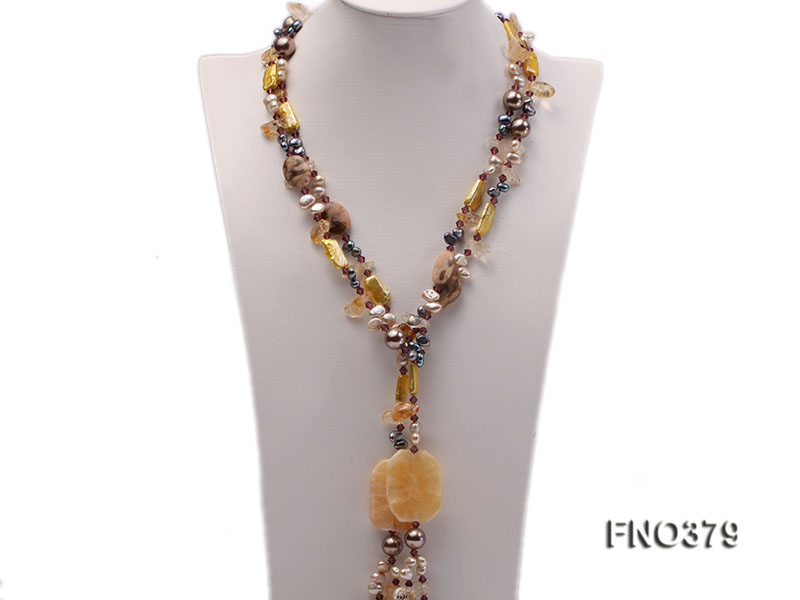7x9mm multicolor freshwater pearl and light yellow irregular crystal necklace big Image 1
