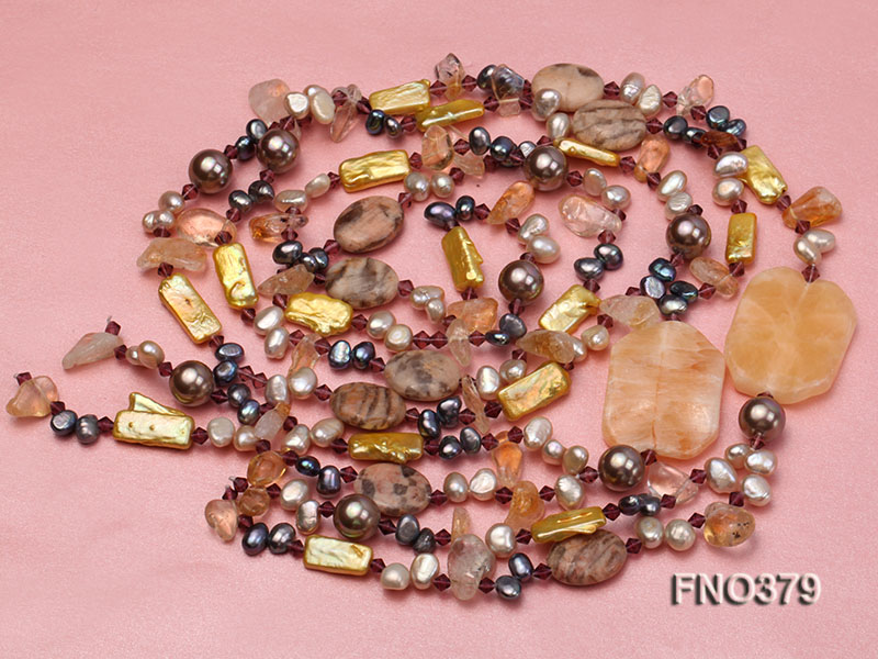 7x9mm multicolor freshwater pearl and light yellow irregular crystal necklace big Image 3