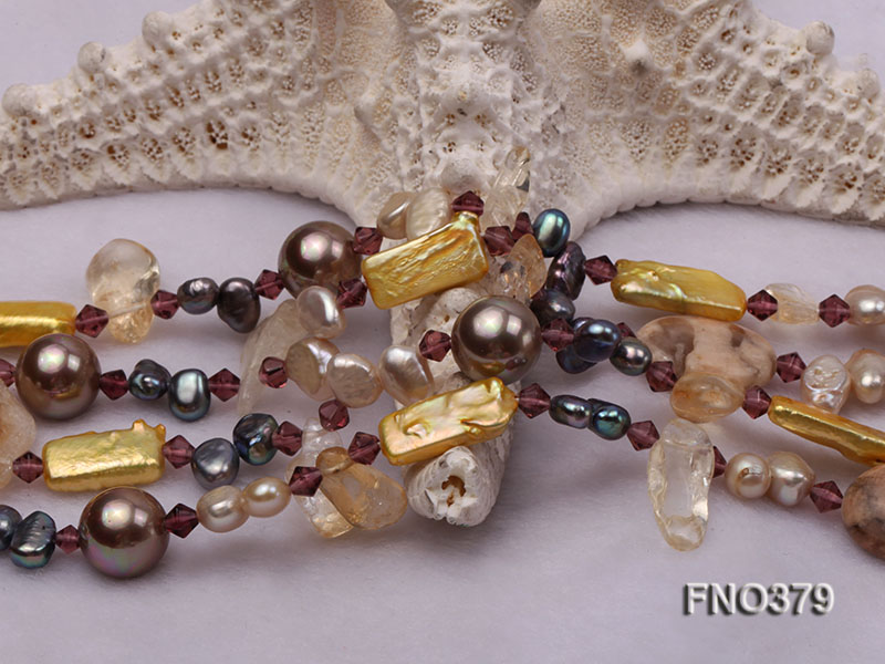 7x9mm multicolor freshwater pearl and light yellow irregular crystal necklace big Image 4
