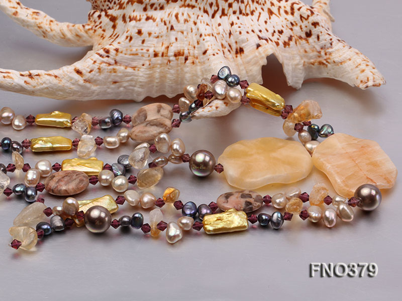 7x9mm multicolor freshwater pearl and light yellow irregular crystal necklace big Image 5