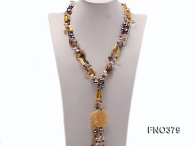 7x9mm multicolor freshwater pearl and light yellow irregular crystal necklace FNO379 Image 1