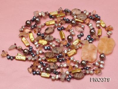 7x9mm multicolor freshwater pearl and light yellow irregular crystal necklace FNO379 Image 3