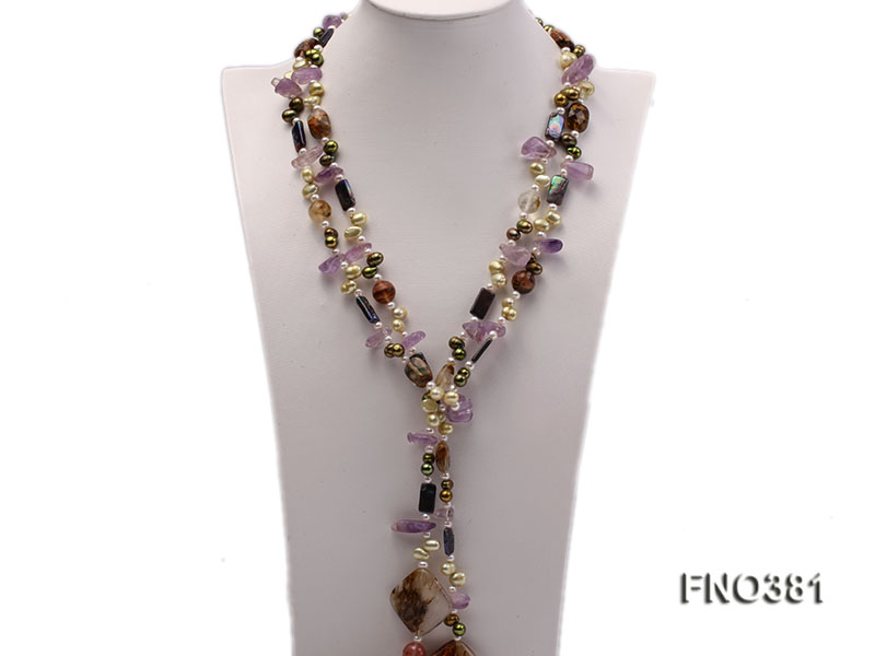 7x9mm multicolor flat FW pearl and purple irregular crystal and gemstone necklace big Image 1