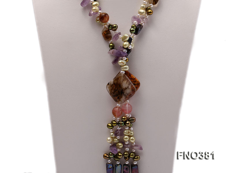 7x9mm multicolor flat FW pearl and purple irregular crystal and gemstone necklace big Image 2