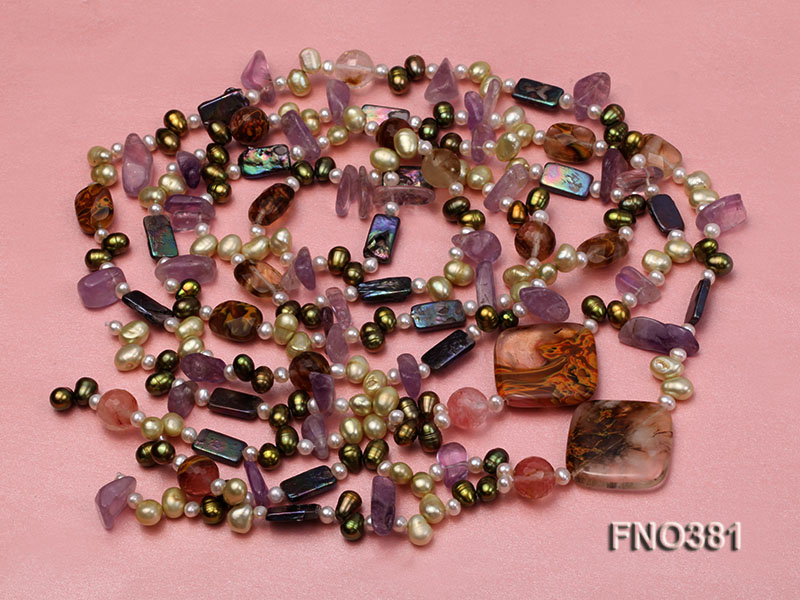 7x9mm multicolor flat FW pearl and purple irregular crystal and gemstone necklace big Image 3