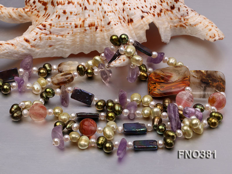 7x9mm multicolor flat FW pearl and purple irregular crystal and gemstone necklace big Image 4