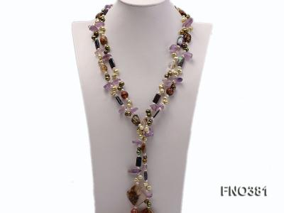 7x9mm multicolor flat FW pearl and purple irregular crystal and gemstone necklace FNO381 Image 1