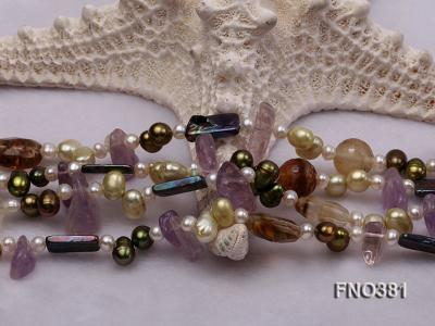 7x9mm multicolor flat FW pearl and purple irregular crystal and gemstone necklace FNO381 Image 5