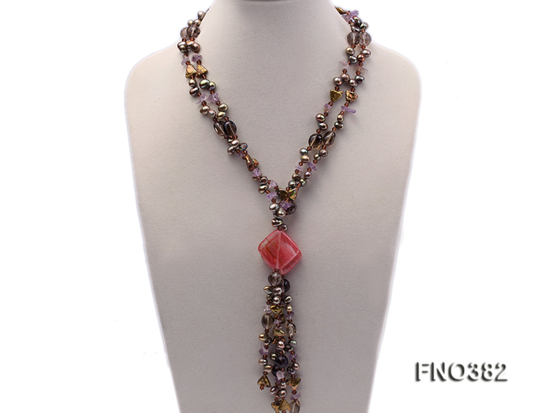 7x9mm pewter flat FW pearl and purple broken crystal and irregular pearl necklace big Image 1