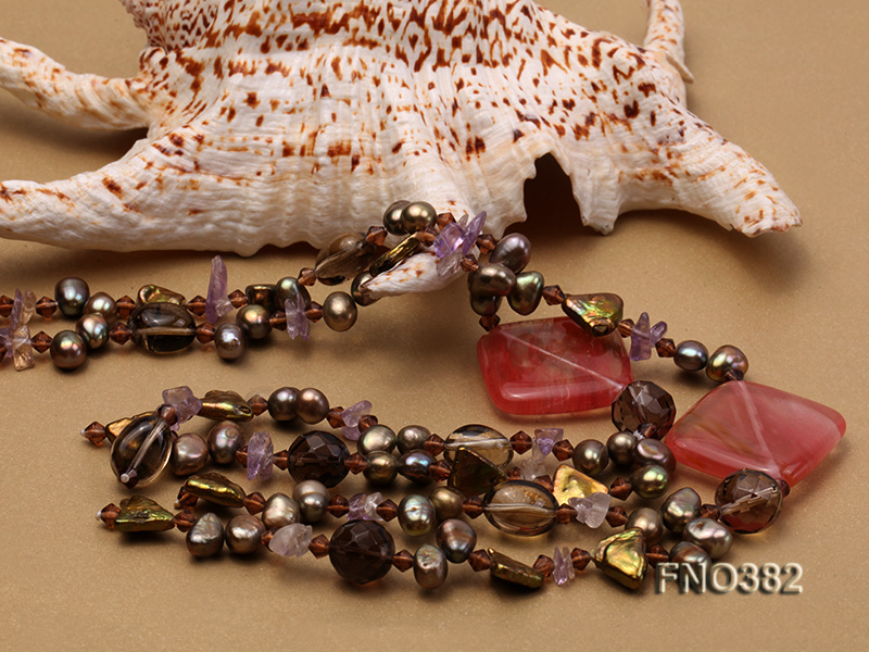7x9mm pewter flat FW pearl and purple broken crystal and irregular pearl necklace big Image 5