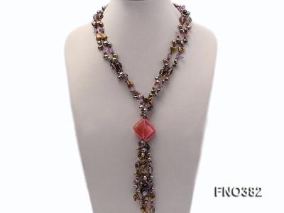 7x9mm pewter flat FW pearl and purple broken crystal and irregular pearl necklace FNO382 Image 1