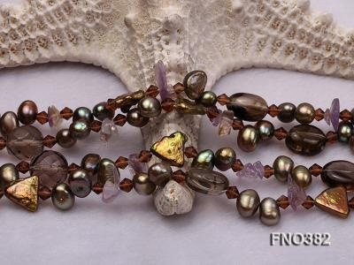 7x9mm pewter flat FW pearl and purple broken crystal and irregular pearl necklace FNO382 Image 4