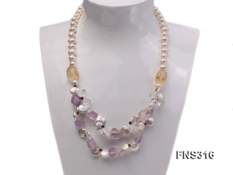 8-9mm natural white round freshwater pearl with amethyst and white crystal necklace big Image 2