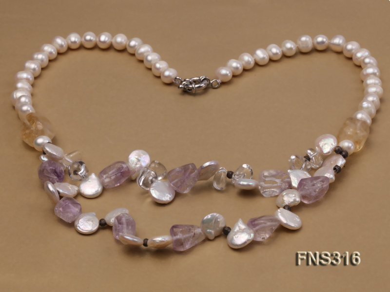 8-9mm natural white round freshwater pearl with amethyst and white crystal necklace big Image 3