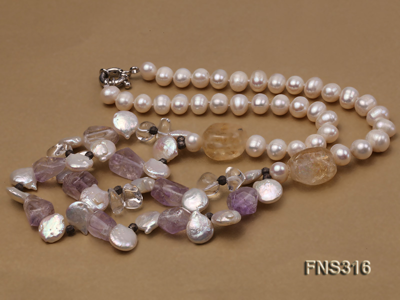 8-9mm natural white round freshwater pearl with amethyst and white crystal necklace big Image 5