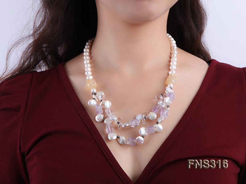 8-9mm natural white round freshwater pearl with amethyst and white crystal necklace big Image 6