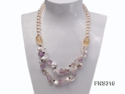 8-9mm natural white round freshwater pearl with amethyst and white crystal necklace FNS316 Image 2