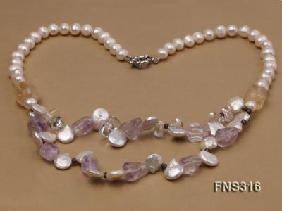 8-9mm natural white round freshwater pearl with amethyst and white crystal necklace FNS316 Image 3