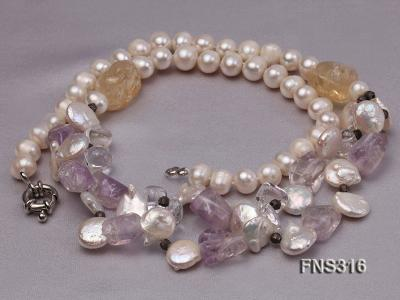 8-9mm natural white round freshwater pearl with amethyst and white crystal necklace FNS316 Image 4