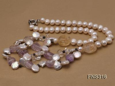 8-9mm natural white round freshwater pearl with amethyst and white crystal necklace FNS316 Image 5