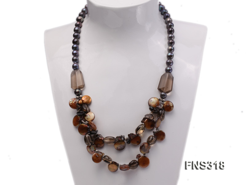 9-10mm black round freshwater pearl with natural smoky quartz and coin pearl necklace big Image 1