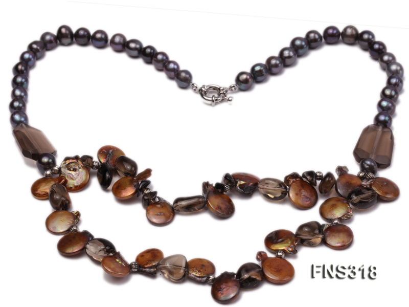 9-10mm black round freshwater pearl with natural smoky quartz and coin pearl necklace big Image 2