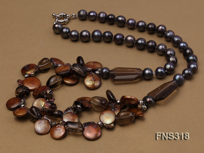 9-10mm black round freshwater pearl with natural smoky quartz and coin pearl necklace big Image 3