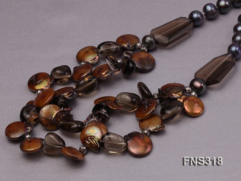 9-10mm black round freshwater pearl with natural smoky quartz and coin pearl necklace big Image 4