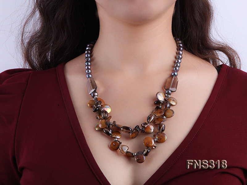 9-10mm black round freshwater pearl with natural smoky quartz and coin pearl necklace big Image 5