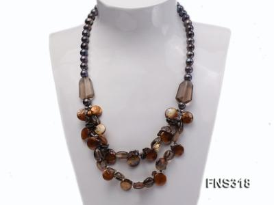 9-10mm black round freshwater pearl with natural smoky quartz and coin pearl necklace FNS318 Image 1