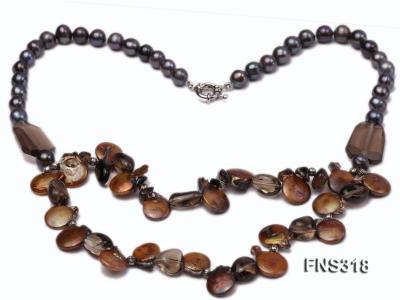 9-10mm black round freshwater pearl with natural smoky quartz and coin pearl necklace FNS318 Image 2