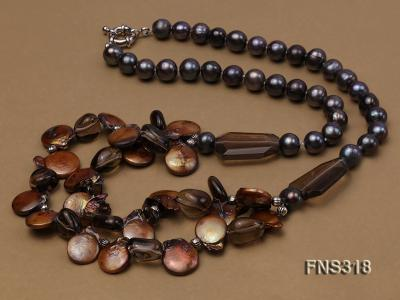 9-10mm black round freshwater pearl with natural smoky quartz and coin pearl necklace FNS318 Image 3
