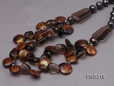 9-10mm black round freshwater pearl with natural smoky quartz and coin pearl necklace FNS318 Image 4