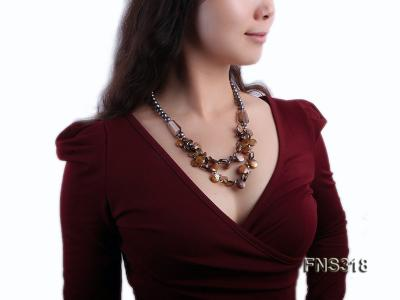 9-10mm black round freshwater pearl with natural smoky quartz and coin pearl necklace FNS318 Image 6