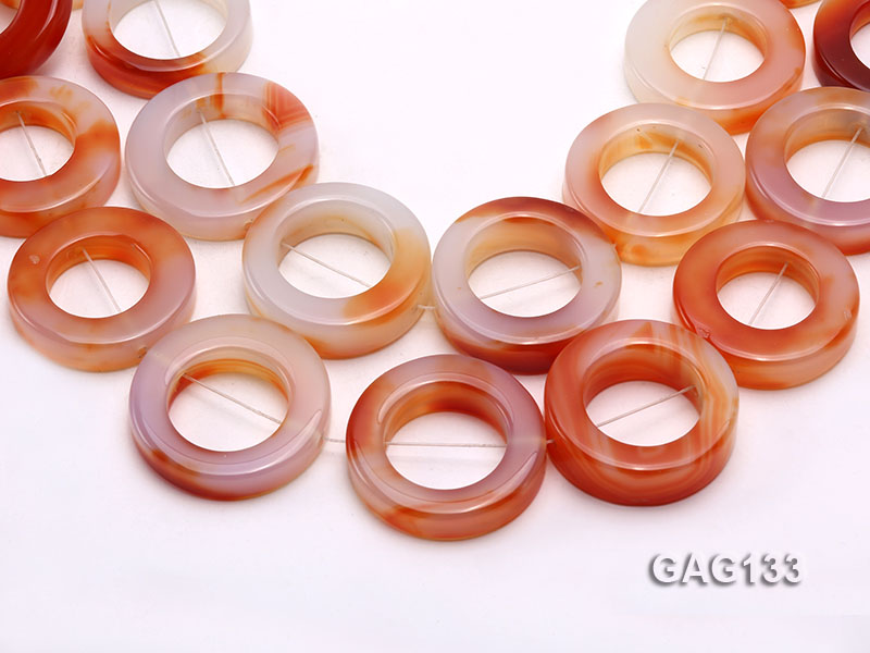 wholesale 37mm red ring-shaped agate loose strings big Image 1