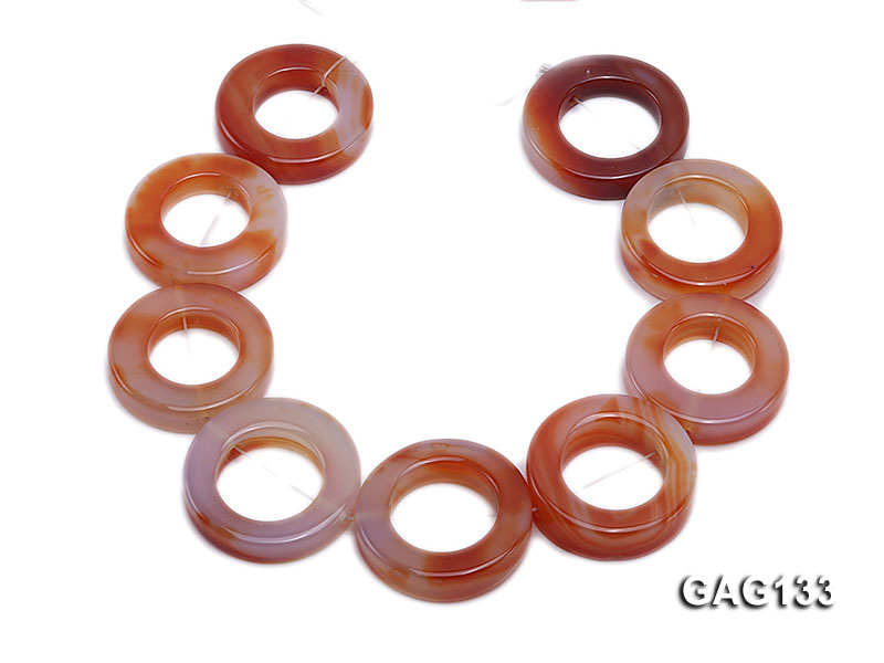 wholesale 37mm red ring-shaped agate loose strings big Image 4