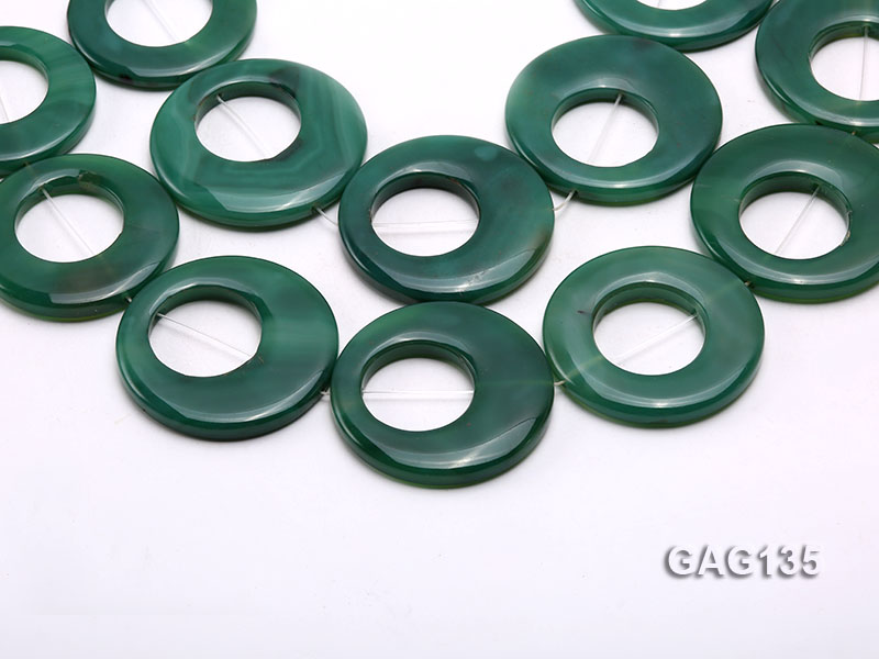 wholesale 45-58mm green ring-shaped agate loose strings big Image 1