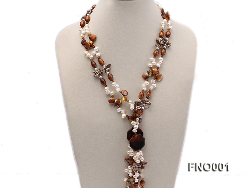 7x9.5mm white flat freshwater pearl and irregular pearl and golden coral necklace big Image 2